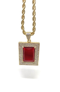 Rectangle Ruby Necklace