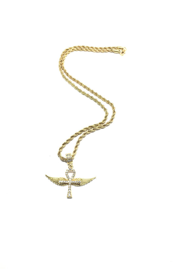 Ankh on Wings Necklace