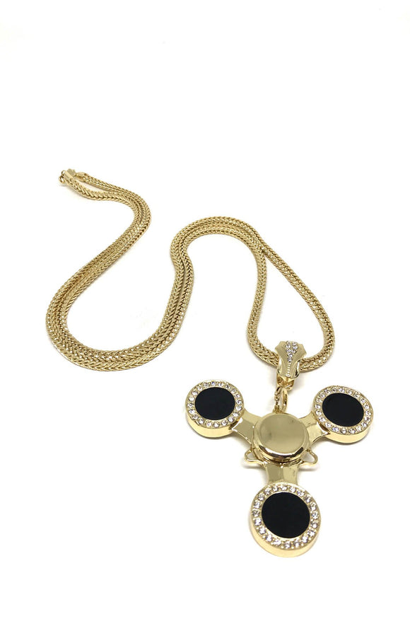 Black and Gold Spinner Necklace