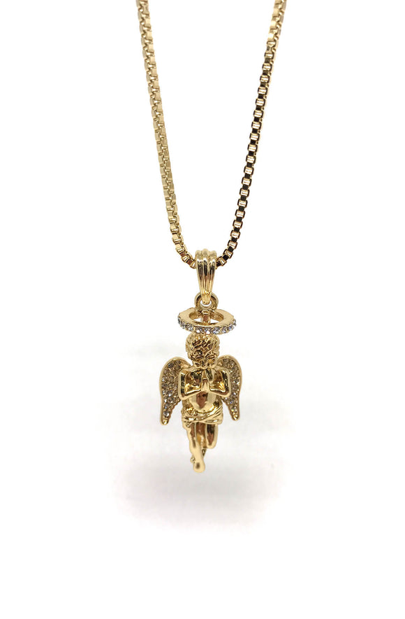 Box Chain Angel Gold Necklace