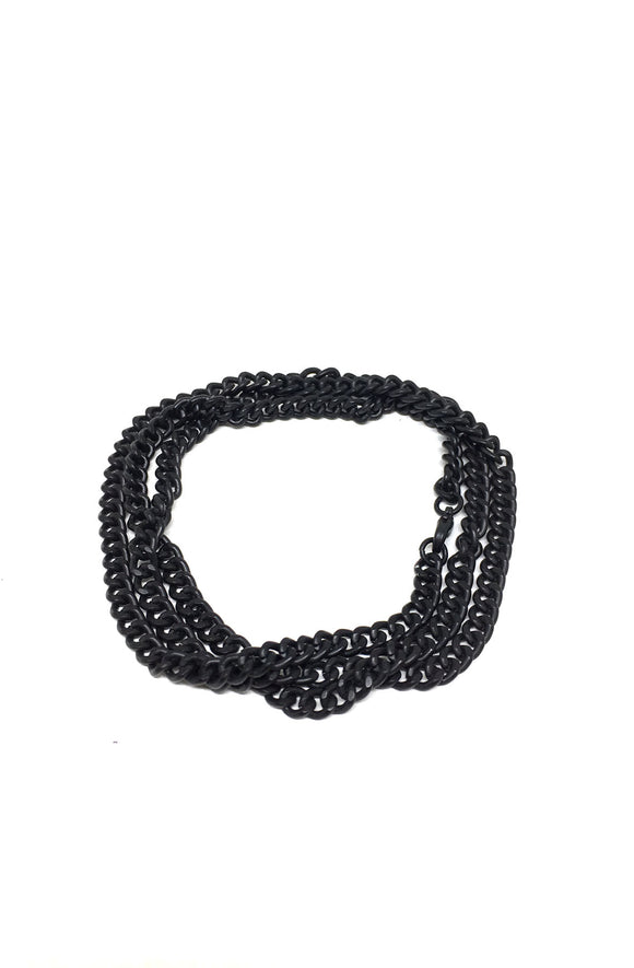 Curb Chain Triple Wrap Bracelet in Black