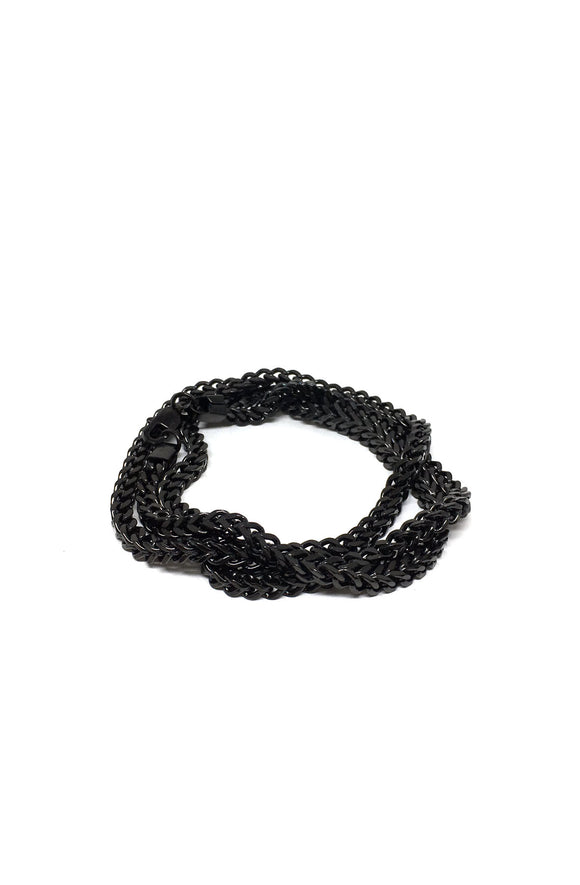 Franco Chain Triple Wrap Bracelet in Black