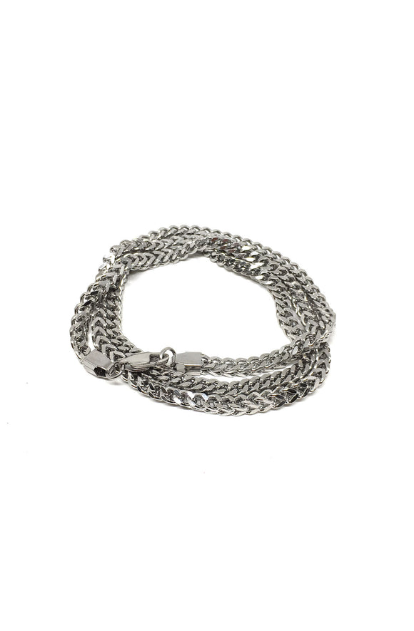 Franco Chain Triple Wrap Bracelet in Silver