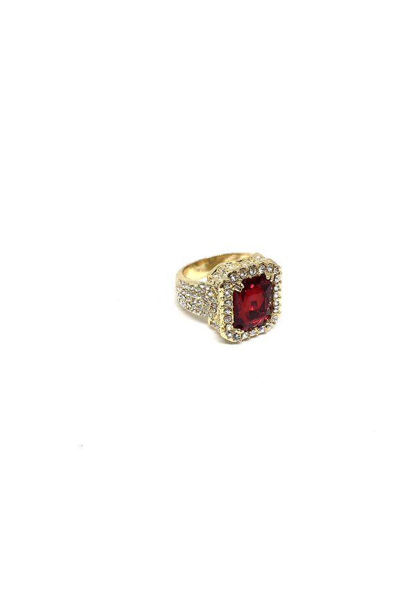 Iced Red Ruby Ring