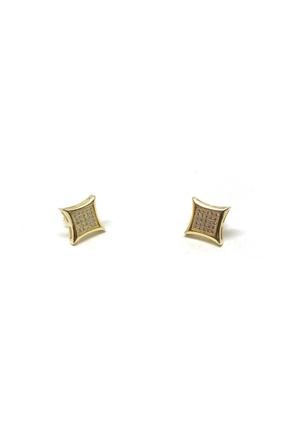 Pave Gold Square Studs