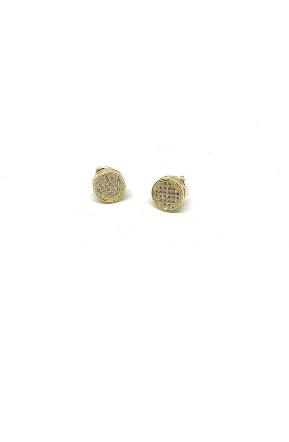 Round Gold Pave Earrings
