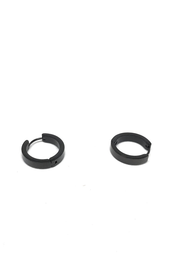 Stainless Steel Black Big Hoop Earrings