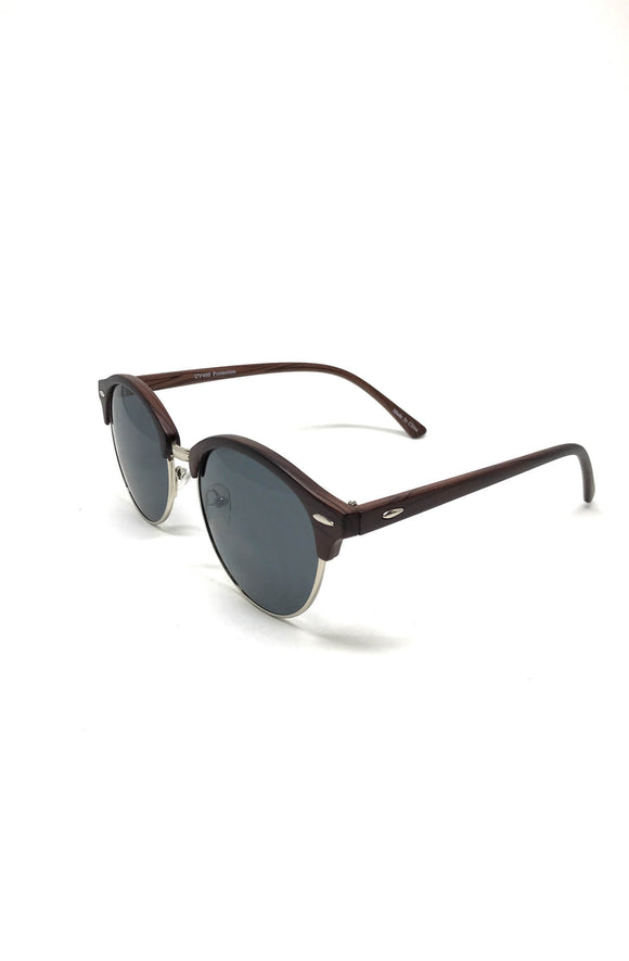 Stan Dark Brown Round Sunglasses
