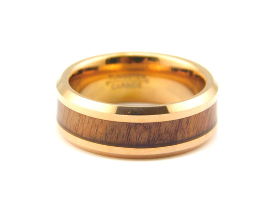 Gold Tungsten Carbide Band with Wood