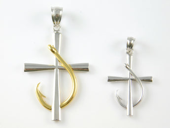 Cross with Fish Hook Pendant