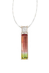 Watermelon Tourmaline Diamond Pendant