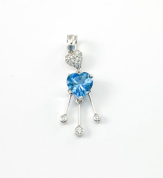 Heart Cut Blue Topaz & Diamond Dangle Pendant