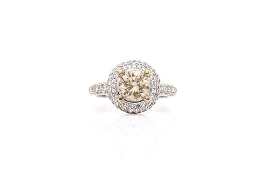 Champagne Round Diamond 1.2ct Ring