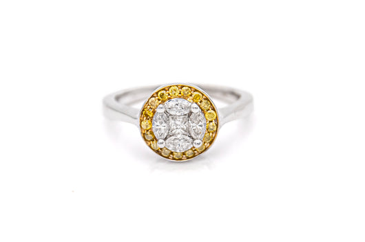 Round Yellow and White Diamond Ring