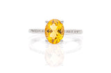 2.0ct Oval Cut Citrine Diamond Ring