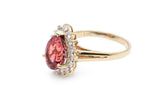 Pear Shaped Tourmaline Ring with Diamond Halo