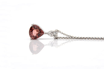 Moon Cut Red Tourmaline Pendant with Trillion Diamond Bail