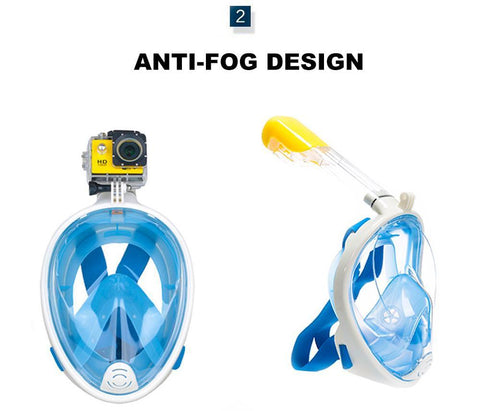 Outdoors & Tools - 2017 New Full Face  Anti-fog Snorkeling Diving Mask Anti-skid Ring Snorkel Scuba GoPro Camera Snorkel Masks Underwater