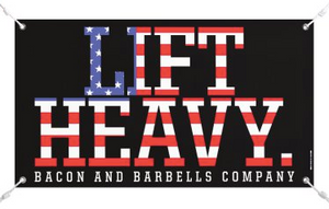 LIFT HEAVY CAN/USA Gym Banners (Black/Red/White)