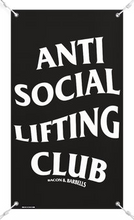 Load image into Gallery viewer, ANTI SOCIAL LIFTING CLUB GYM BANNER (Black/White)