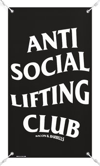 ANTI SOCIAL LIFTING CLUB GYM BANNER (Black/White)