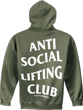 Load image into Gallery viewer, ANTI SOCIAL LIFTING CLUB Hoodie (Military Green/White)