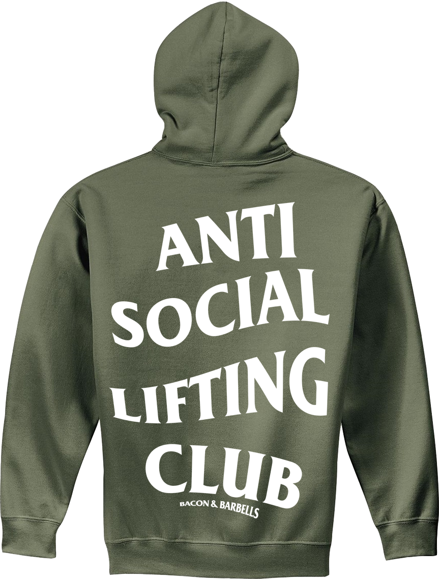 ANTI SOCIAL LIFTING CLUB Hoodie (Military Green/White)