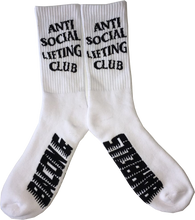 Load image into Gallery viewer, ANTI SOCIAL LIFTING CLUB Crew Socks (White/Black)