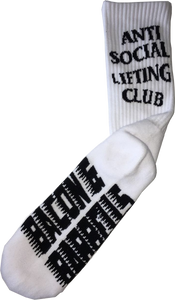 ANTI SOCIAL LIFTING CLUB Crew Socks (White/Black)
