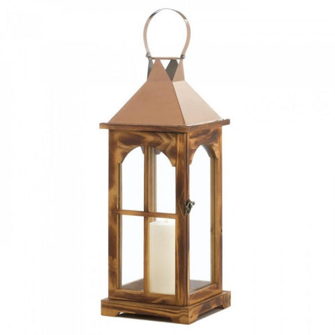Large Rose Gold Wooden Lantern