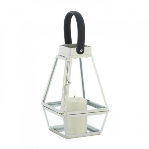 Faceted Faux Leather Strap Lantern