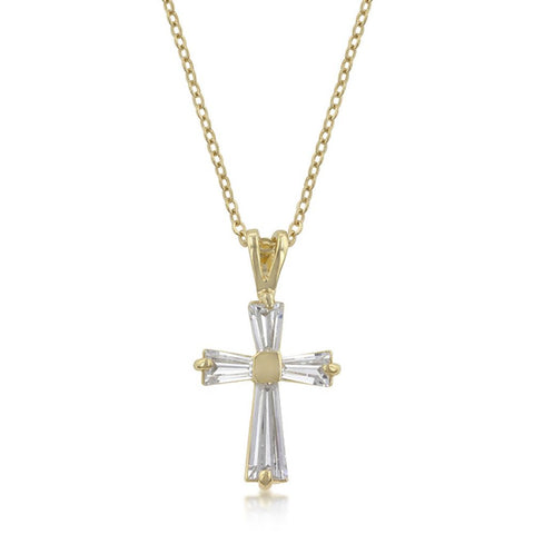 Goldtone Baguette Cross Pendant