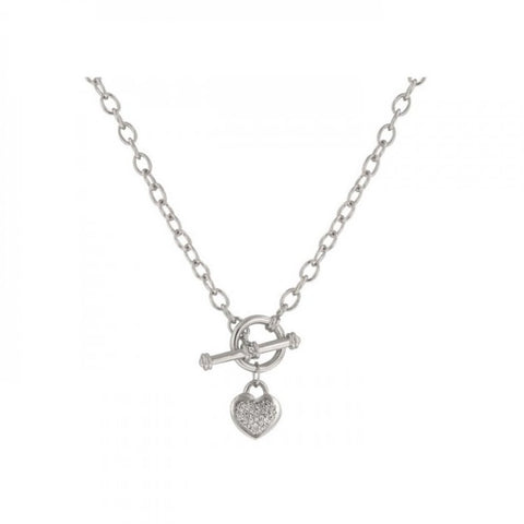 Speckled Heart Necklace With Heart Charm With Pave And Bezel Round Cut Clear Cz In Silver Tone