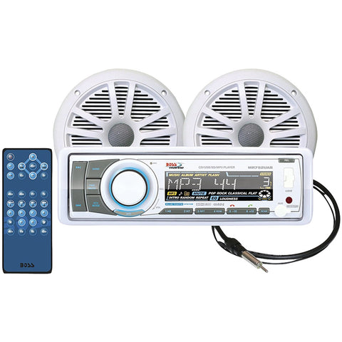 Boss Audio Marine Single-din In-dash Cd Am And Fm Receiver With Bluetooth, 2 Speakers & Antenna