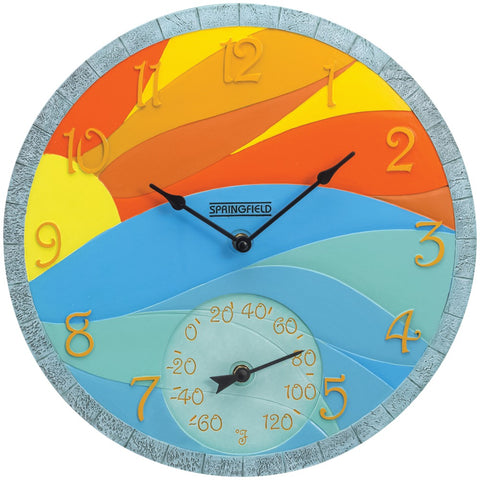 "Springfield 14"" Poly Resin Clock With Thermometer (sunrise)"
