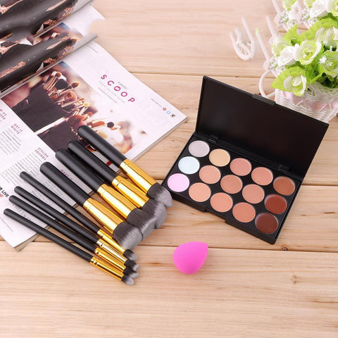 15 Color Concealer Palette + 8pcs Make Up Brushes Kit + Sponge Puff