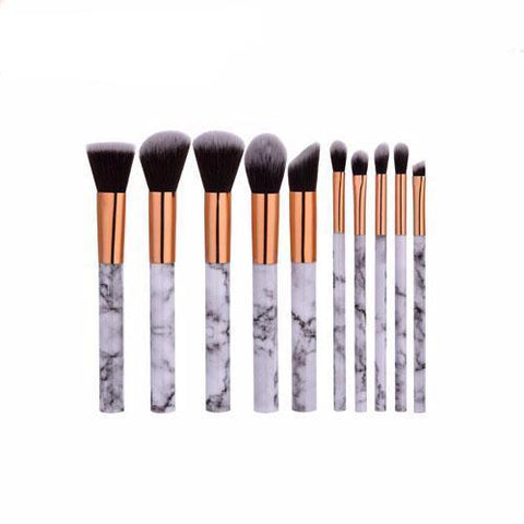 10 pcs Marble Design Makeup Brush Set