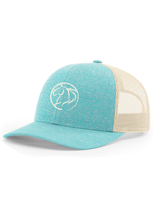 Andrea Equine Low Profile Trucker Hat- Turquoise Heather - Andrea Equine