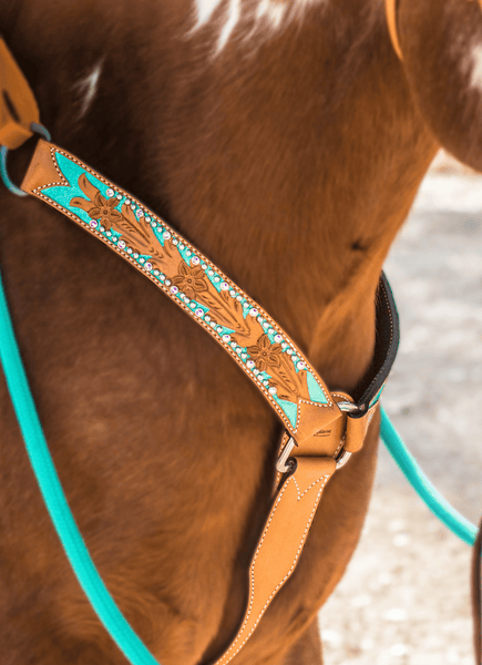 """Andrea"" Hand Tooled Metallic Turquoise Breast Collar w/ Swarovski Crystals - Andrea Equine"