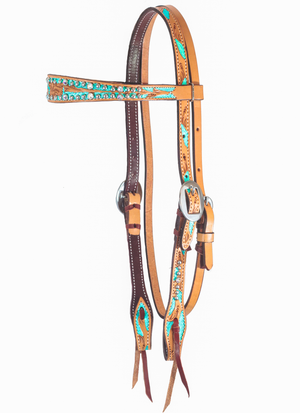 Hand Tooled Metallic Turquoise Browband headstall w/ Swarovski Crystals - Andrea Equine