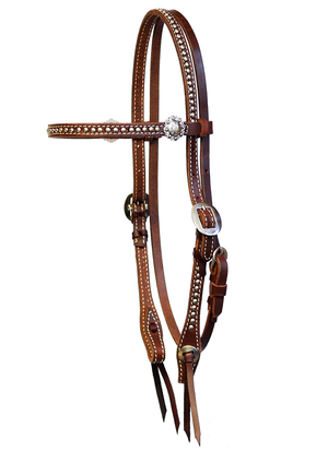 """California"" Dotted Chocolate Harness Browband Headstall - Andrea Equine"