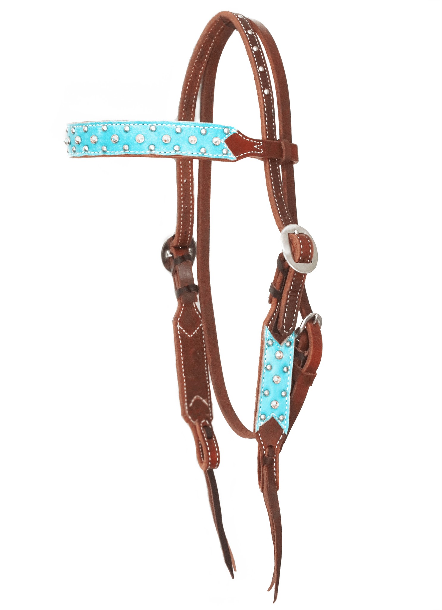 """Cambria"" Dotted Turquoise Straight Browband w/Swarovski Crystals - Andrea Equine"