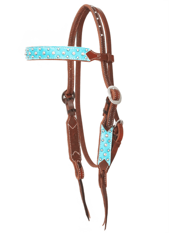 """Cambria"" Dotted Turquoise Straight Browband w/Swarovski Crystals-Andrea Equine"