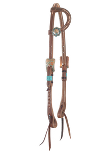 """Danielle"" Dotted Turquoise Copper Rawhide Harness One Ear Headstall - Andrea Equine"