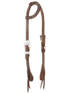 """Paso Robles"" Dotted Silver Harness One Ear Headstall-Andrea Equine"