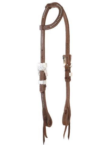 """Paso Robles"" Dotted Silver Harness One Ear Headstall - Andrea Equine"