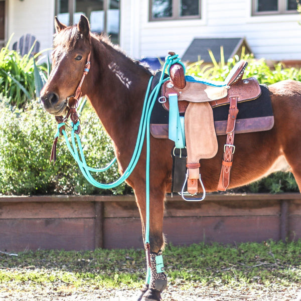 Turquoise Mecate Reins-Andrea Equine