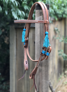 Limited Edition Dotted Turquoise Rawhide Tassel Harness Browband