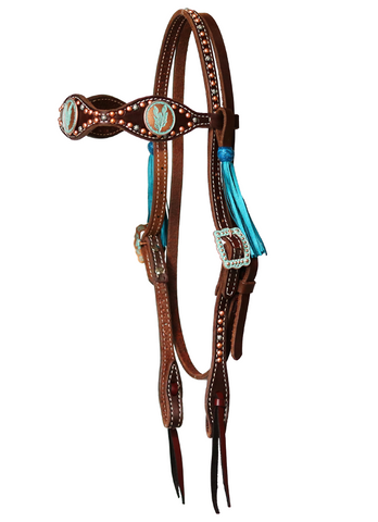 """Pismo"" Dotted Turquoise Feather Scalloped Browband w/Tassels - Andrea Equine"