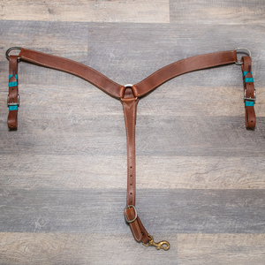 """SLO"" Hermann Oak Harness Breast Collar with Turquoise Rawhide"